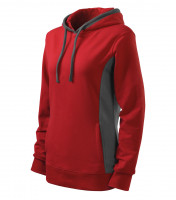 Ladies sweatshirt Kangaroo with hood and added elastane